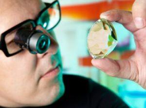 A Jeweler examining a gem